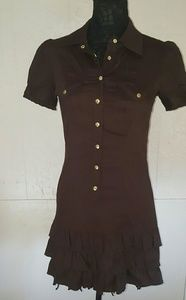 Xoxo Chocolate Button up Suit Dress with Ruffle